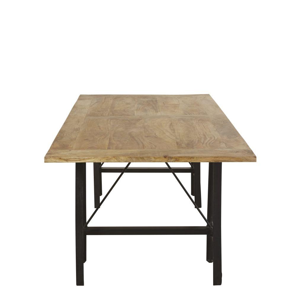 esstisch f r 8 10 personen aus mangoholz und gusseisen. Black Bedroom Furniture Sets. Home Design Ideas