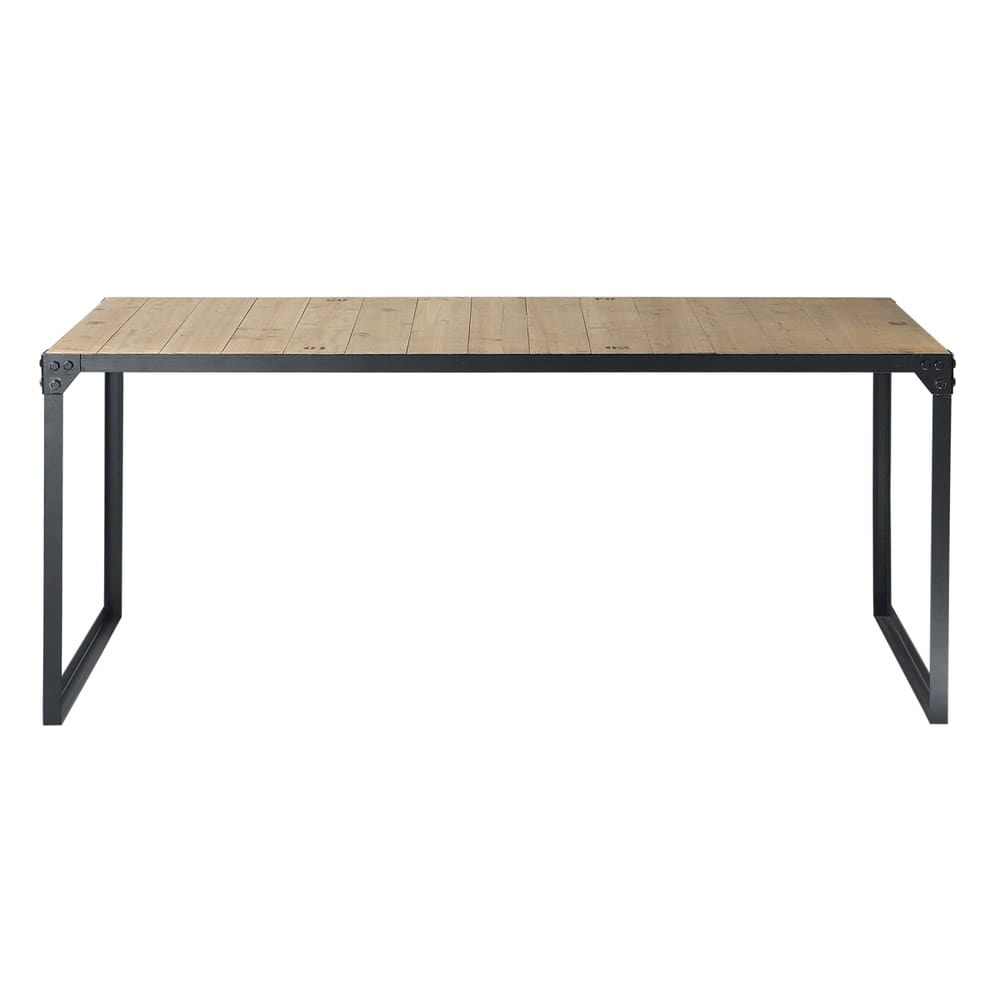 esstisch im industrial stil aus tannenholz und metall 8 personen l180 docks maisons du monde. Black Bedroom Furniture Sets. Home Design Ideas