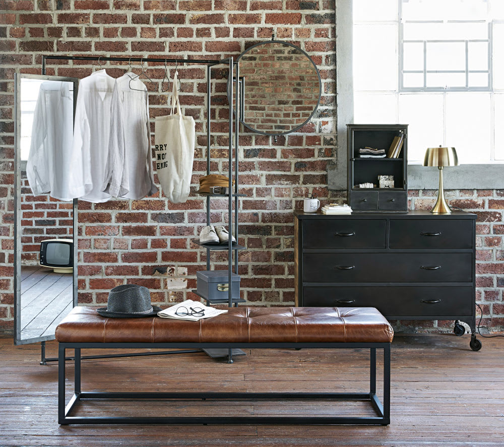 etag re 2 tiroirs en m tal noir effet vieilli grantham. Black Bedroom Furniture Sets. Home Design Ideas