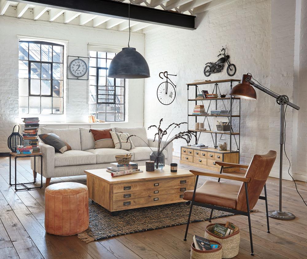 tag re 9 tiroirs en manguier et m tal noir vieilli. Black Bedroom Furniture Sets. Home Design Ideas