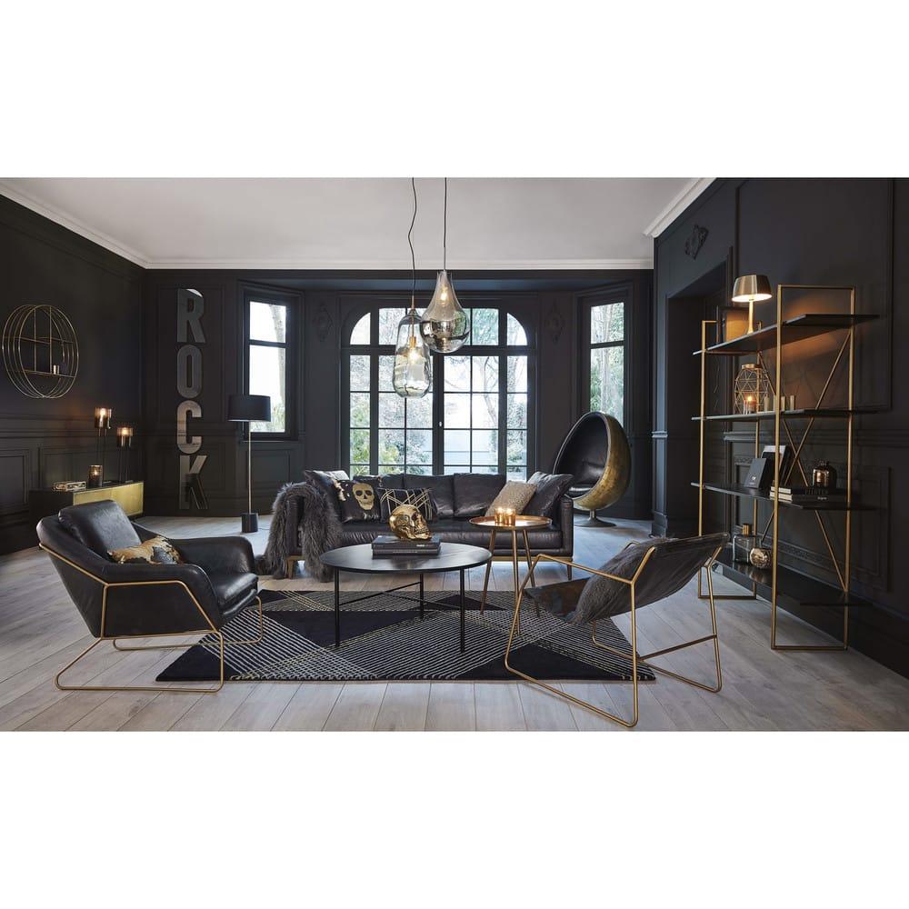 10 Small House Interior Design Solutions: Étagère En Métal Doré Et Manguier Massif Noir Jagger