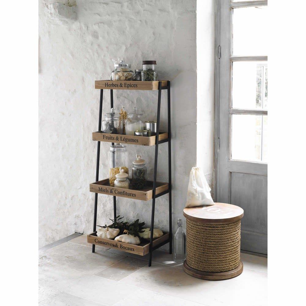 tag re en m tal et bois noire l 52 cm primeurs maisons. Black Bedroom Furniture Sets. Home Design Ideas