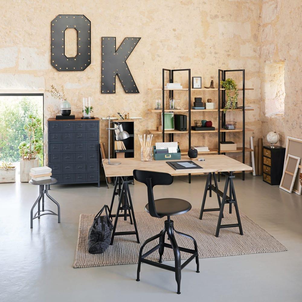tag re en m tal noir ethan maisons du monde. Black Bedroom Furniture Sets. Home Design Ideas