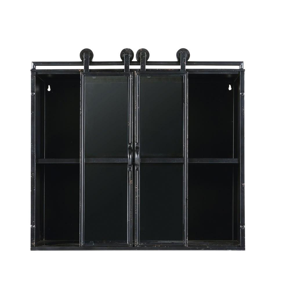 tag re indus 2 portes en verre et m tal noir steven maisons du monde. Black Bedroom Furniture Sets. Home Design Ideas