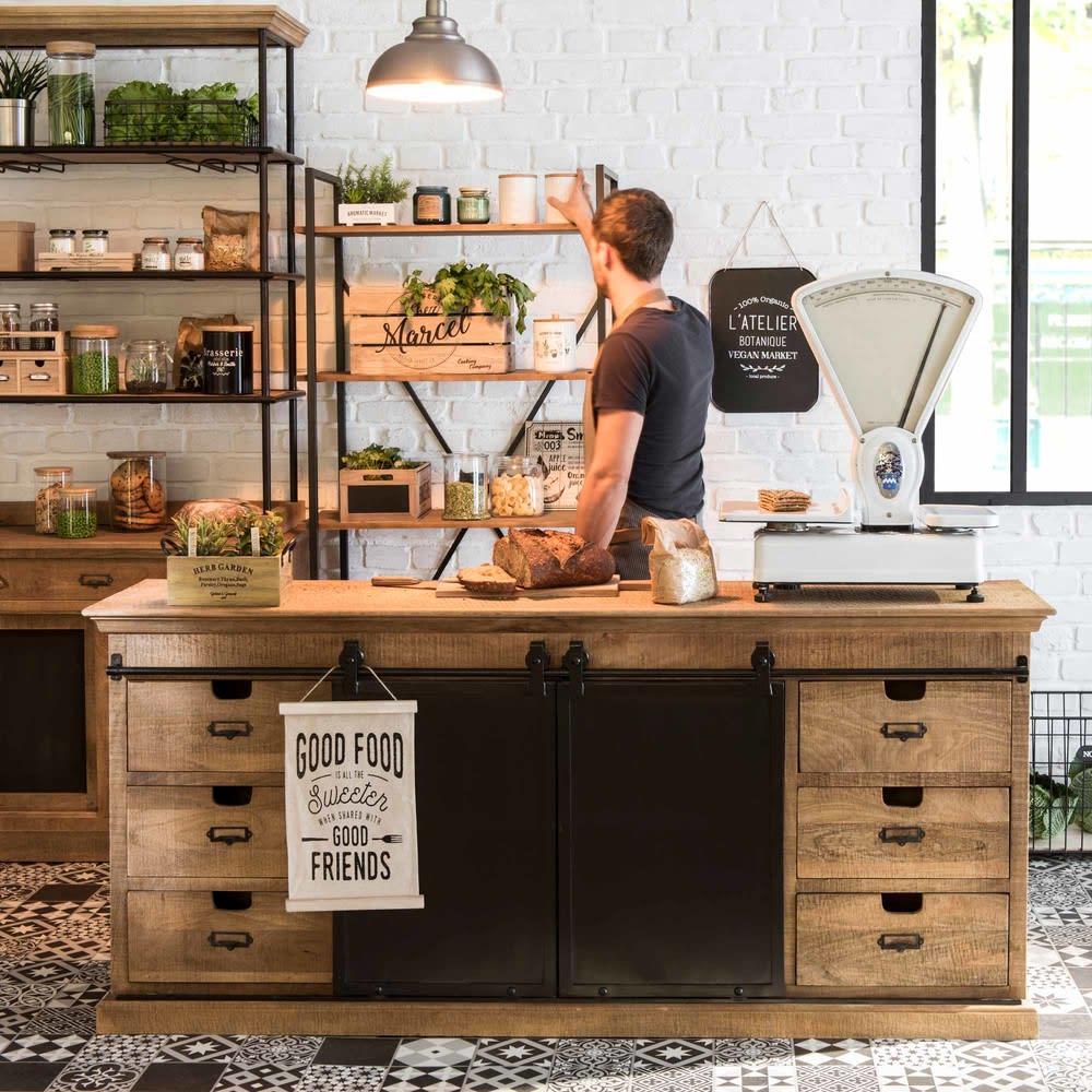 tag re indus en sapin et m tal gris anthracite staten. Black Bedroom Furniture Sets. Home Design Ideas