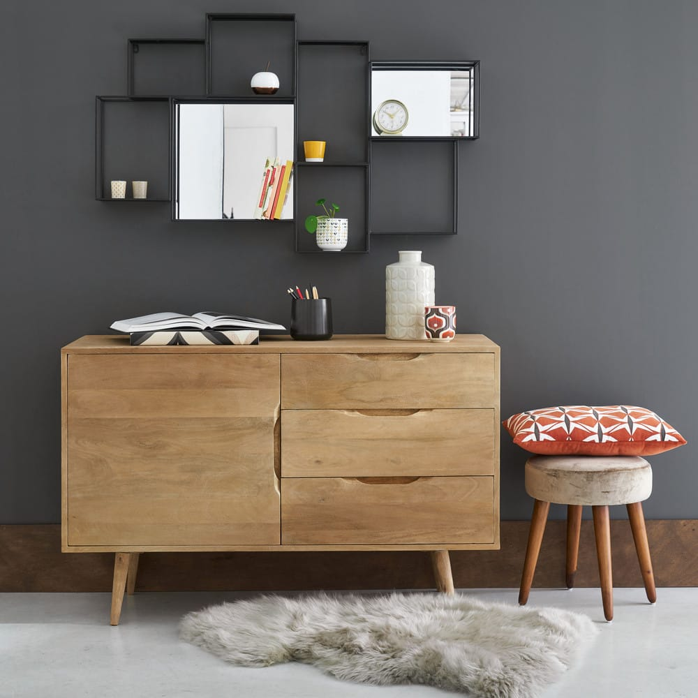 tag re murale miroir en m tal noir elton maisons du monde. Black Bedroom Furniture Sets. Home Design Ideas