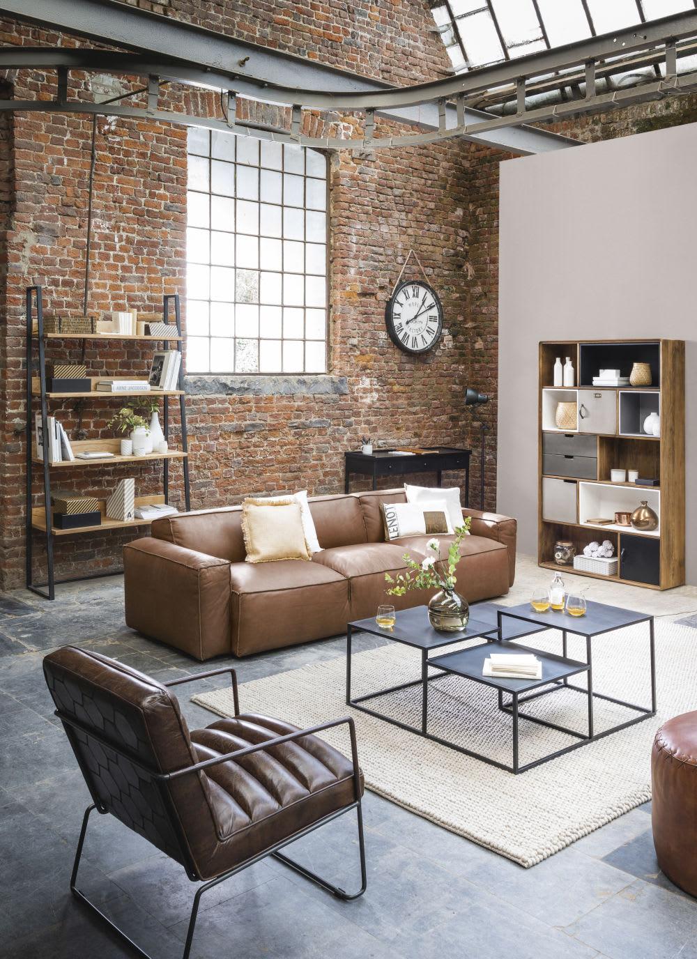 etag re tv indus en m tal noir et manguier manufacture. Black Bedroom Furniture Sets. Home Design Ideas