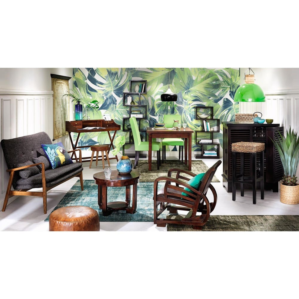 Eucalyptus wood and brown leather stool aaron