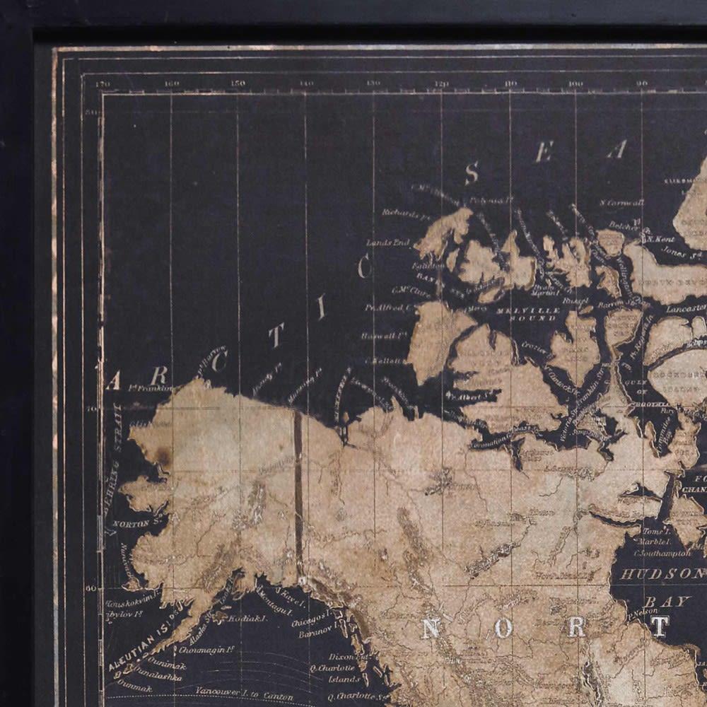 Black World Map Triptych Frame 180 X 120 Explore Maisons Du Monde