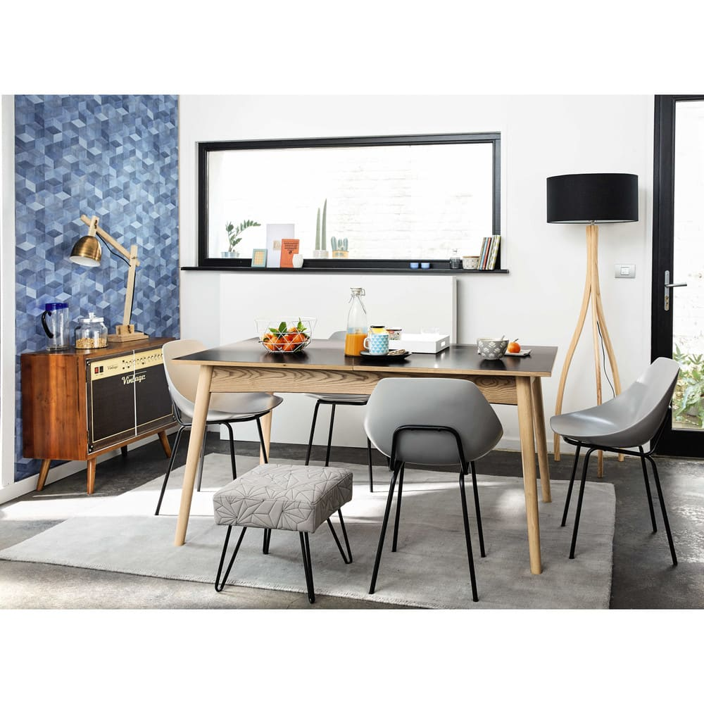 Dining Table 10: Extendible 6-10 Seater Dining Table In Charcoal Grey L 150