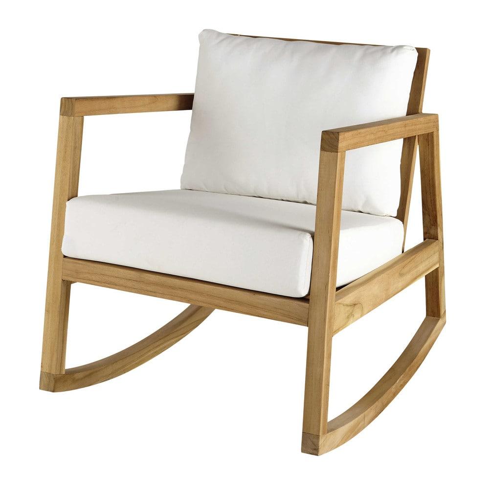 alpin - fauteuil à bascule en teck et tissu blanc