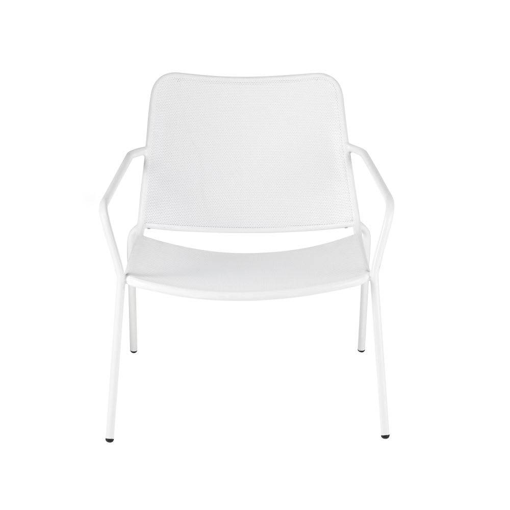 fauteuil bas de jardin en m tal blanc zinav maisons du monde. Black Bedroom Furniture Sets. Home Design Ideas