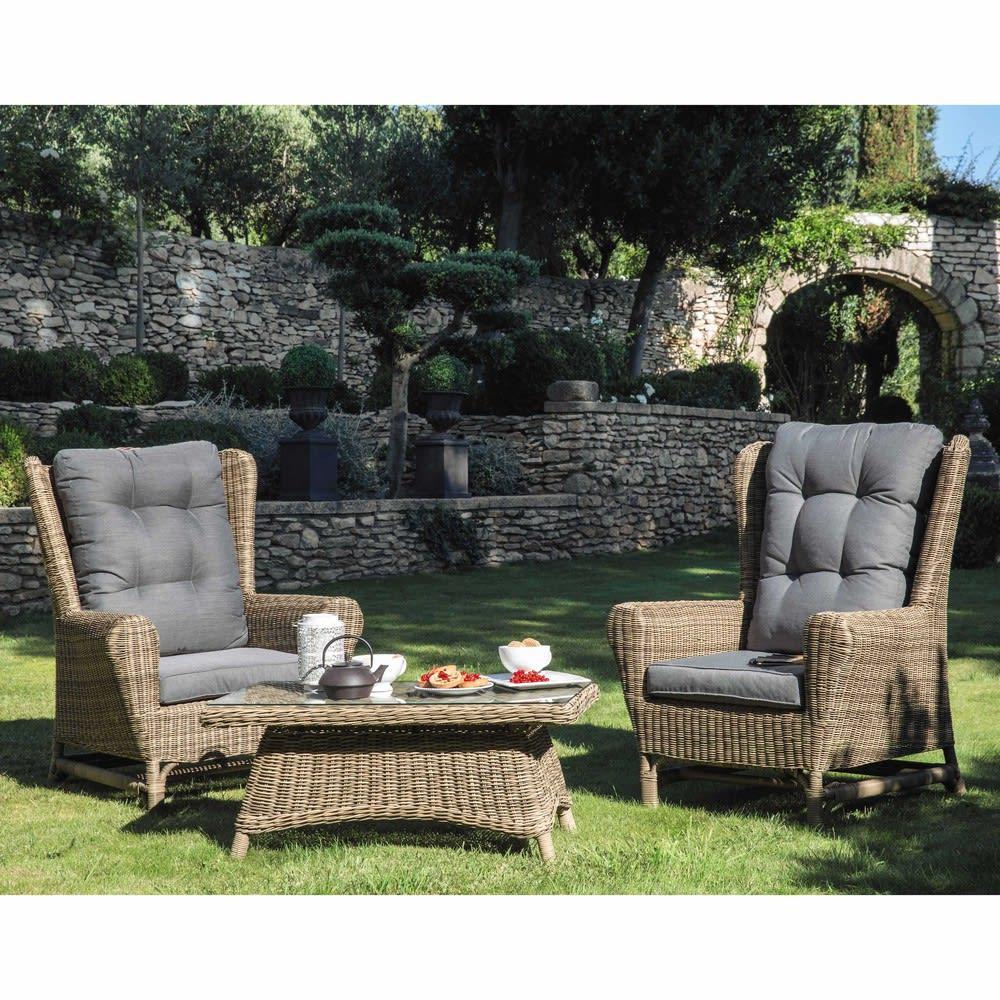 fauteuil berg re de jardin en r sine tress e st rapha l maisons du monde. Black Bedroom Furniture Sets. Home Design Ideas