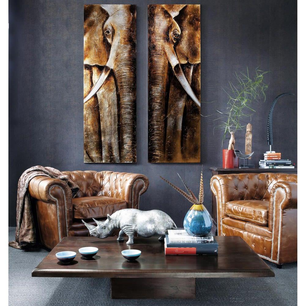 fauteuil capitonn en cuir marron chesterfield maisons du monde. Black Bedroom Furniture Sets. Home Design Ideas