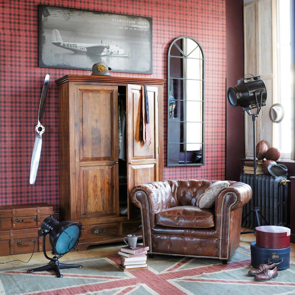 fauteuil capitonn en cuir marron chesterfield maisons. Black Bedroom Furniture Sets. Home Design Ideas