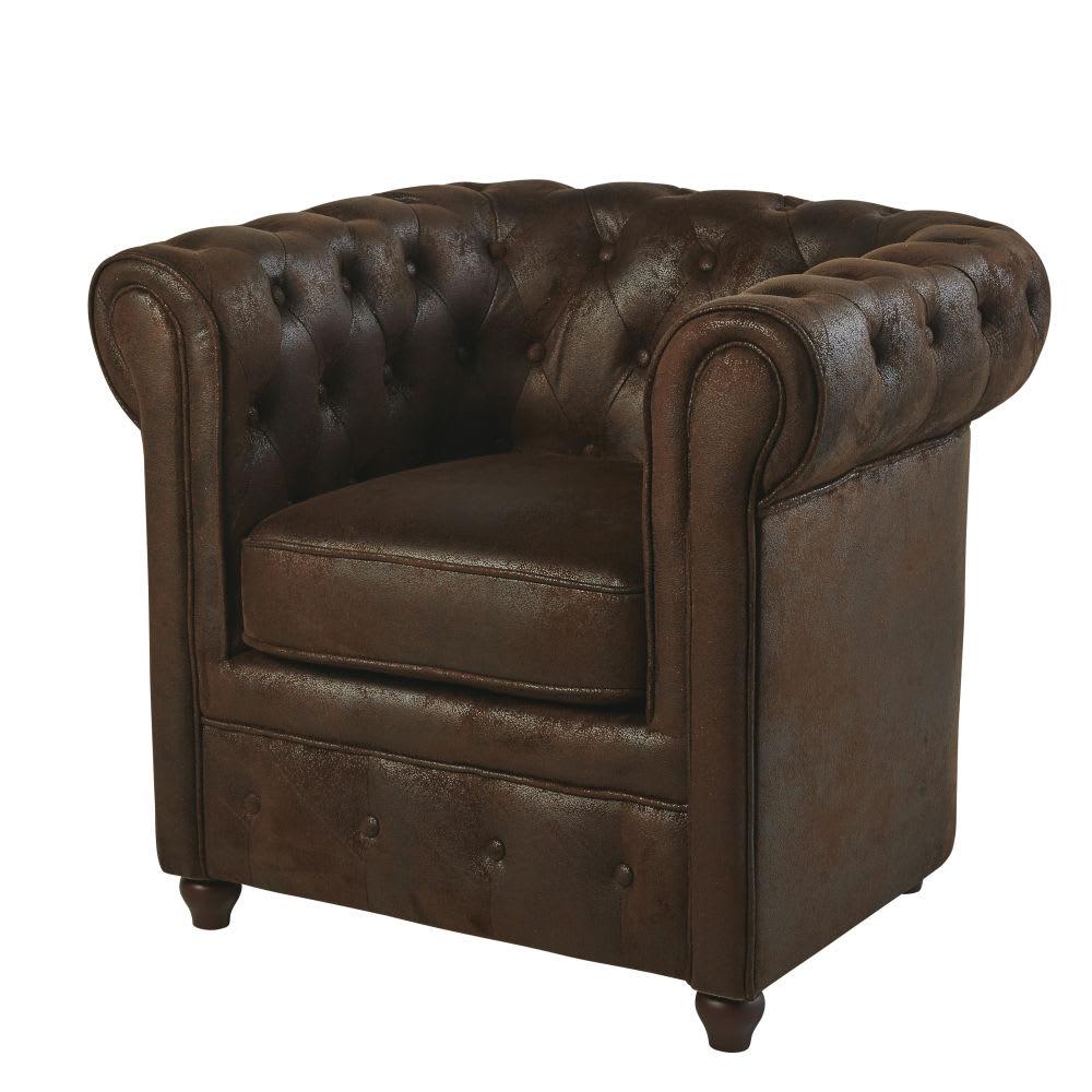 chesterfield - fauteuil capitonné en suédine marron