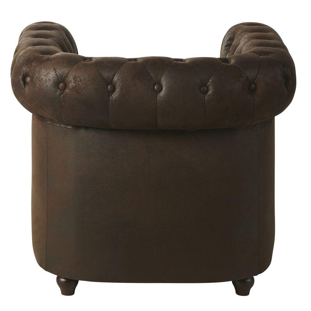fauteuil capitonn en su dine marron chesterfield. Black Bedroom Furniture Sets. Home Design Ideas