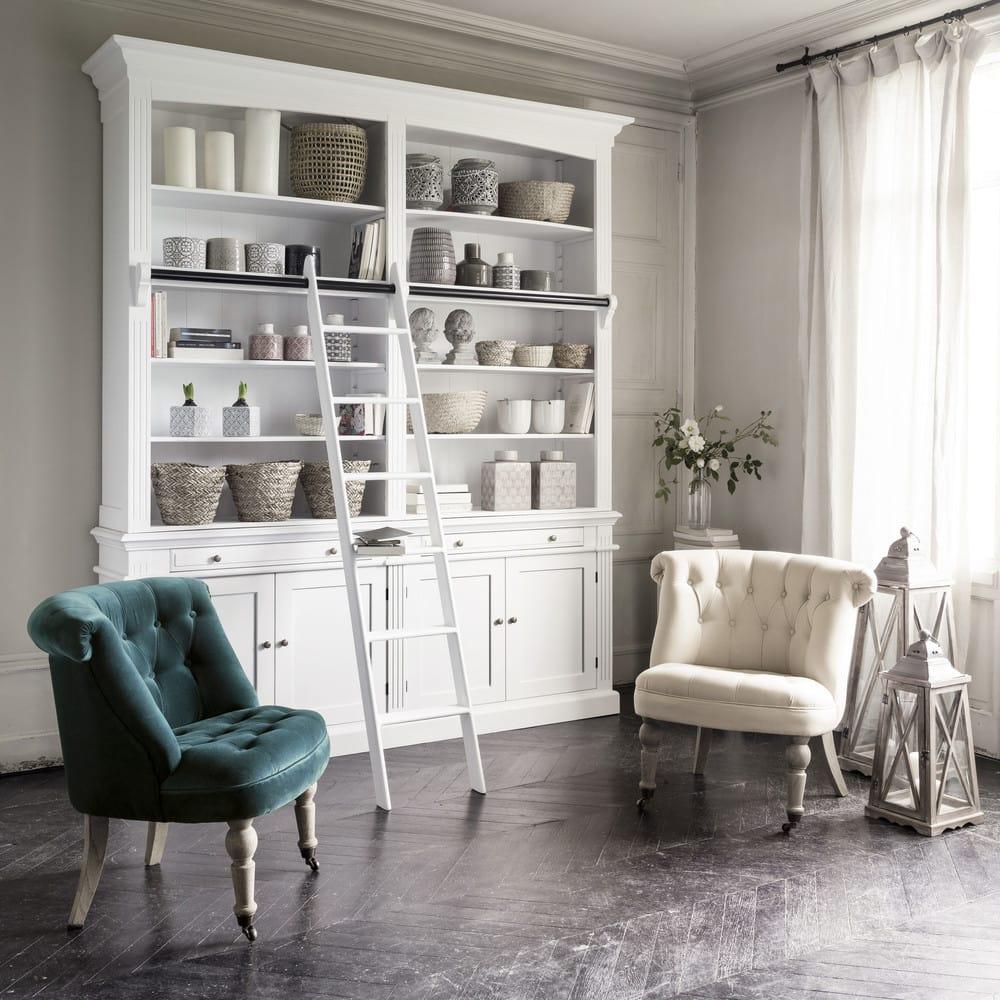 fauteuil capitonn en velours bleu canard constantin. Black Bedroom Furniture Sets. Home Design Ideas
