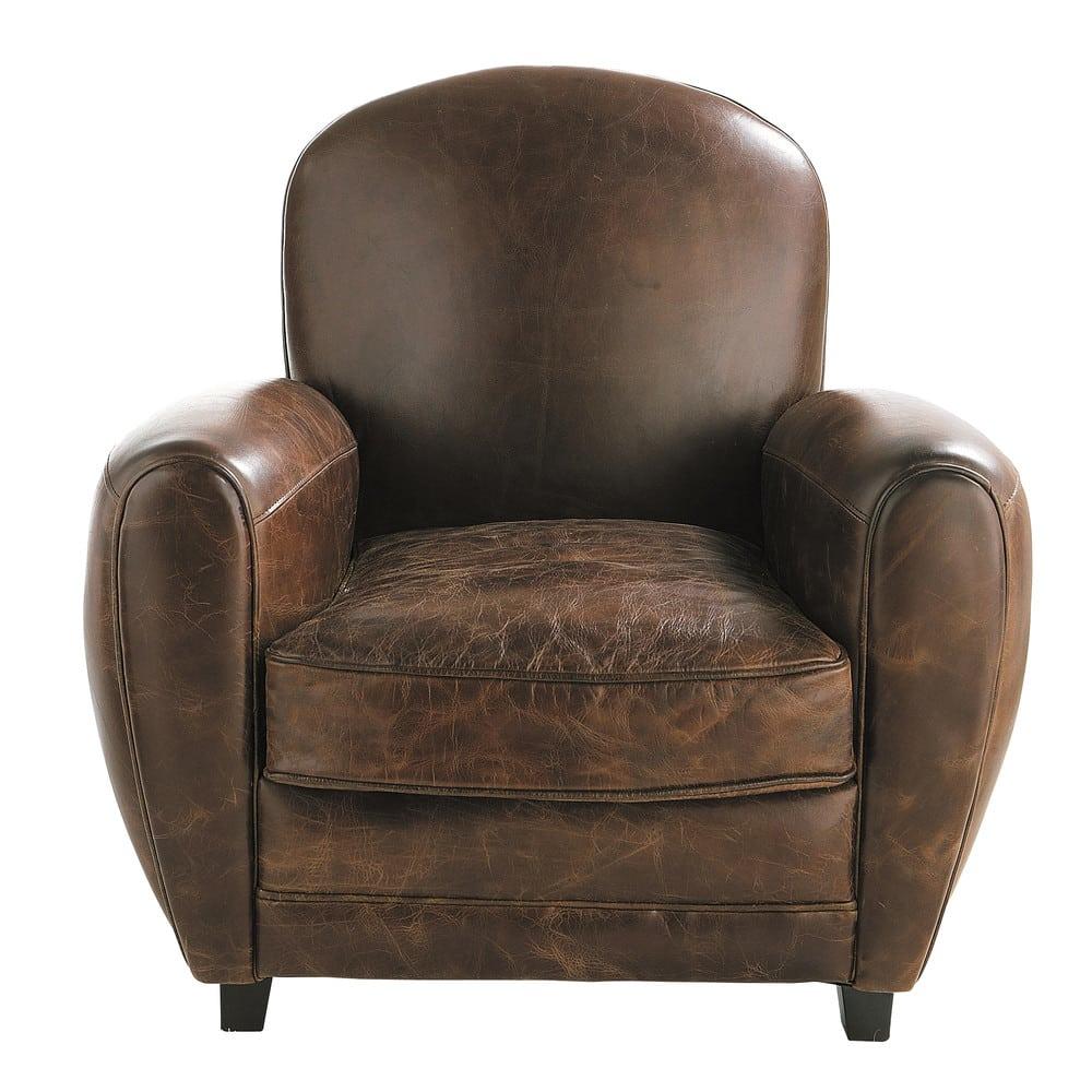 fauteuil club en cuir marron oxford maisons du monde. Black Bedroom Furniture Sets. Home Design Ideas