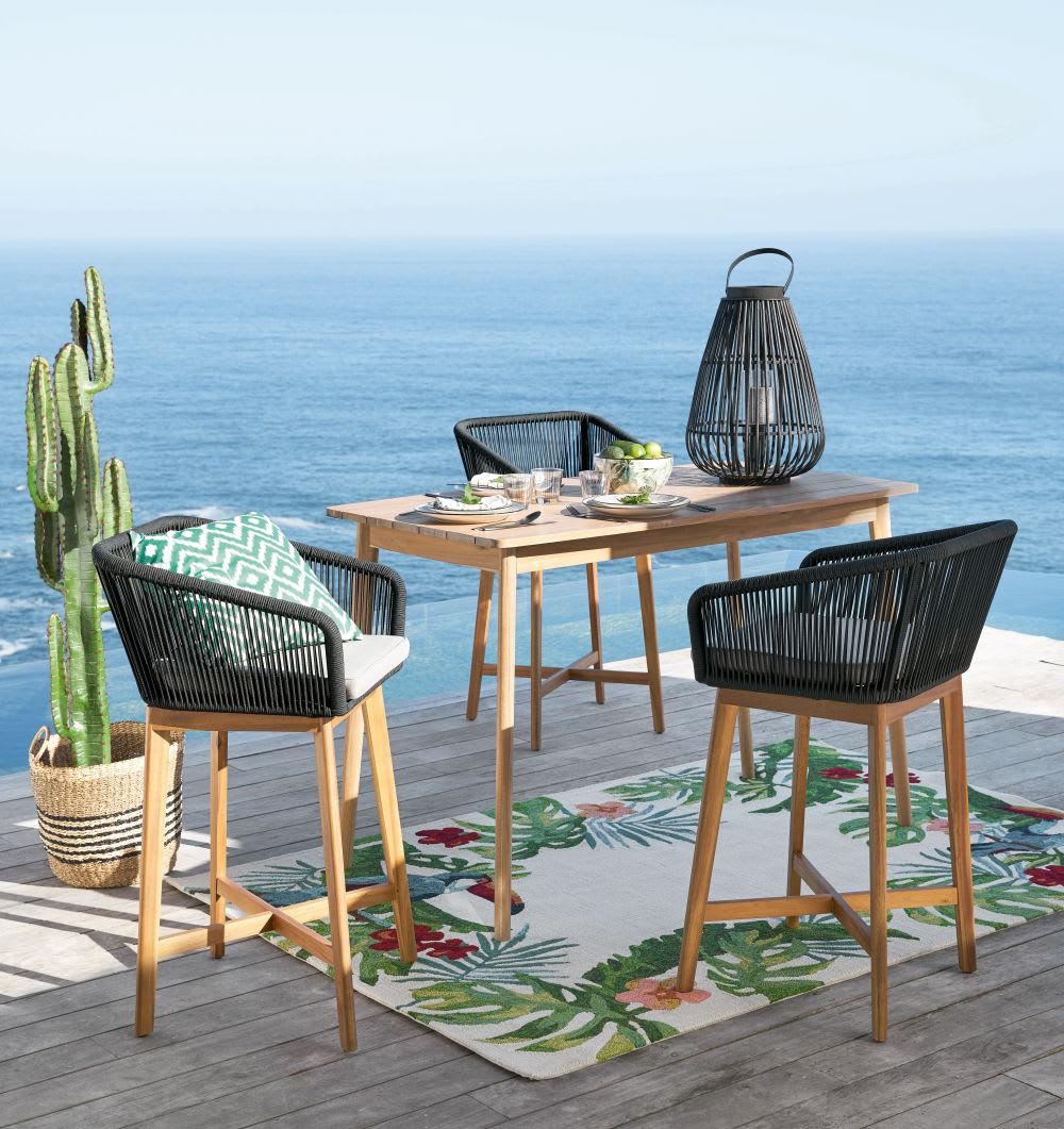 fauteuil de bar de jardin en corde tress e anthracite et. Black Bedroom Furniture Sets. Home Design Ideas