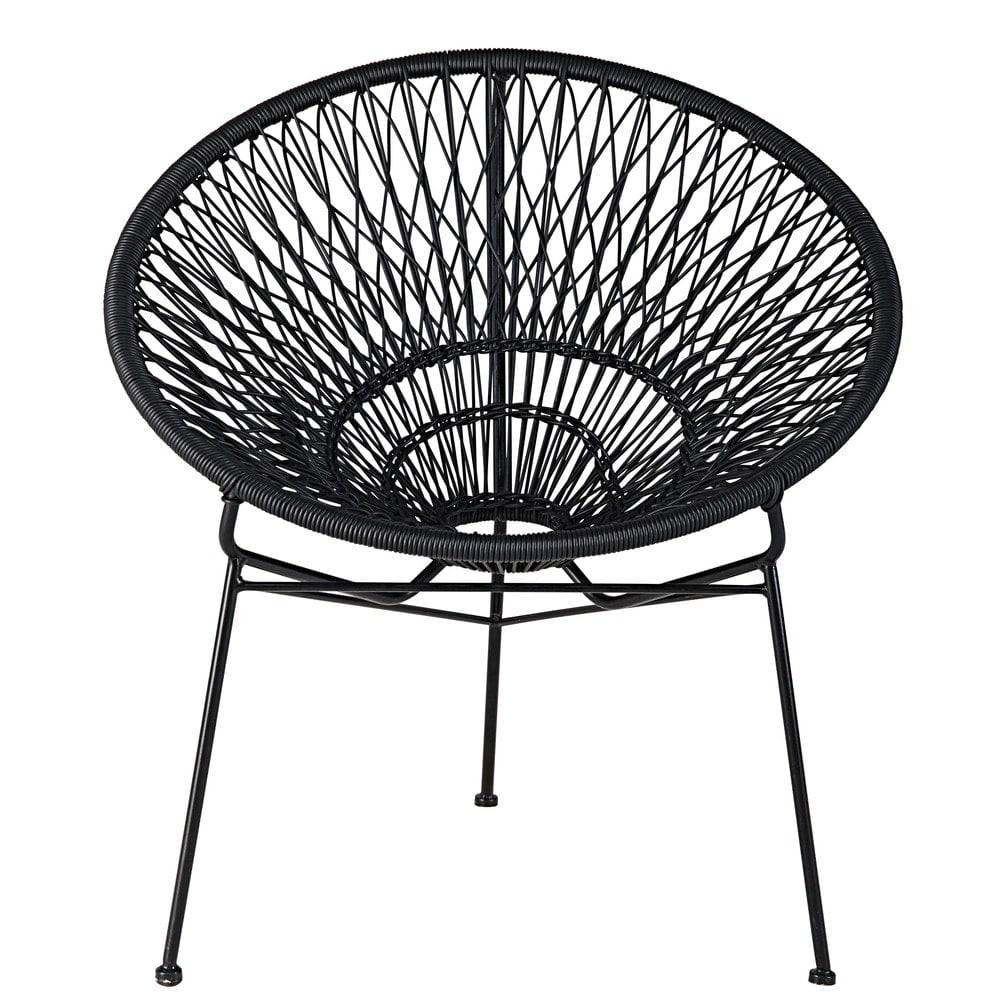 fauteuil de jardin empilable en fil de r sine et m tal noir itapema maisons du monde. Black Bedroom Furniture Sets. Home Design Ideas