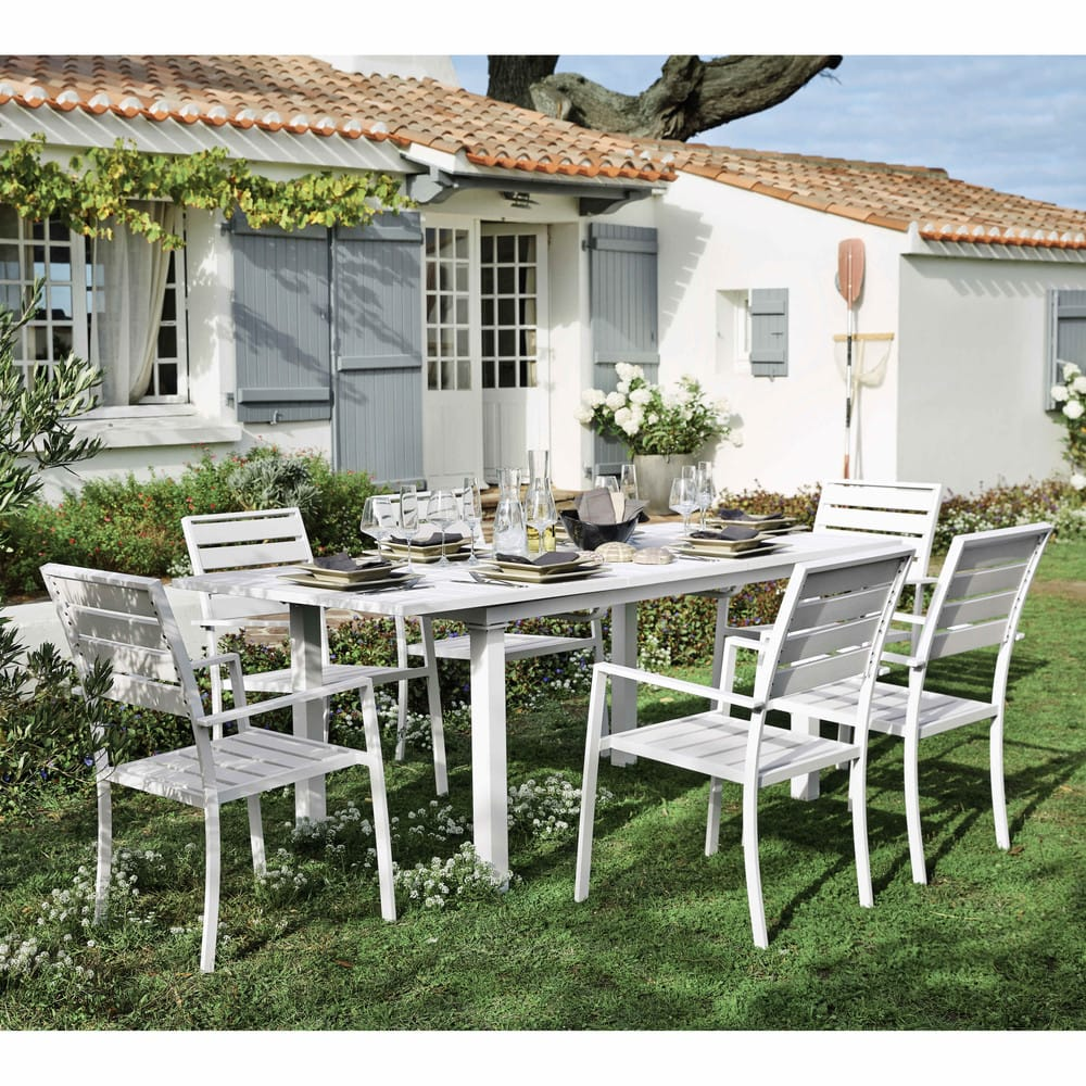 fauteuil de jardin en aluminium blanc portofino maisons du monde. Black Bedroom Furniture Sets. Home Design Ideas