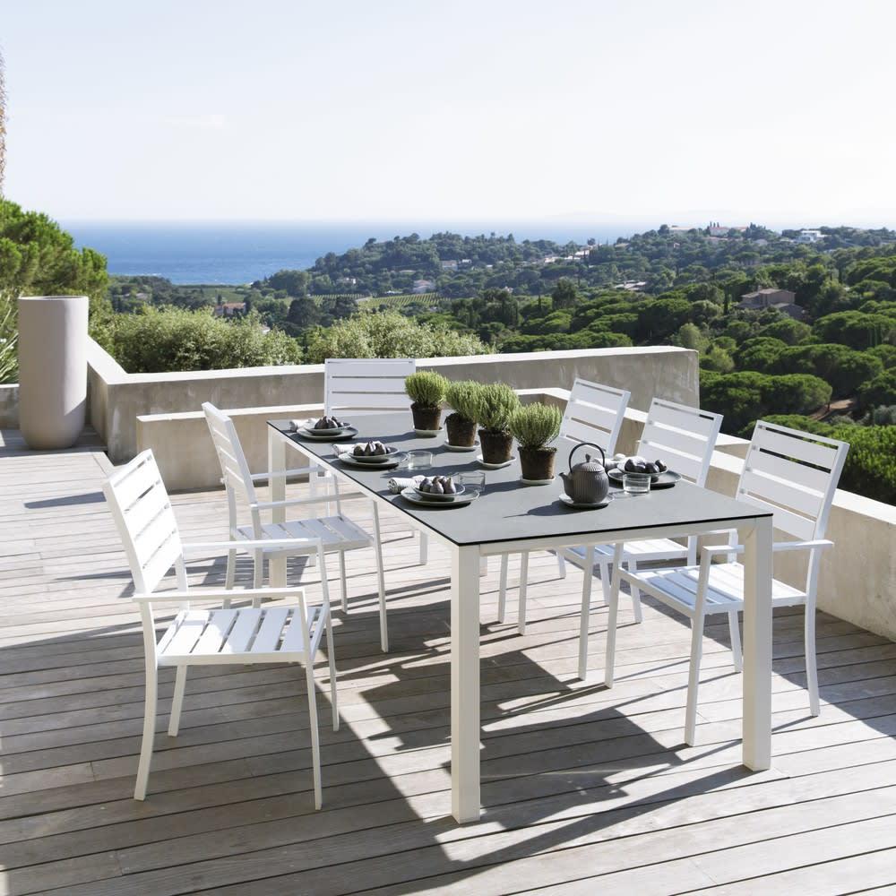 Fauteuil de jardin en aluminium blanc Portofino | Maisons du Monde