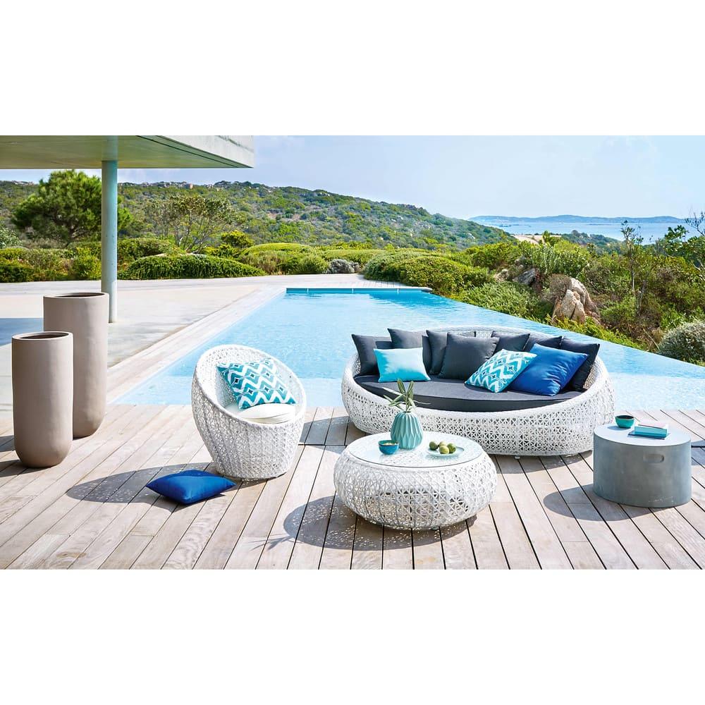 Fauteuil de jardin en résine tressée blanc Durban | Maisons du Monde