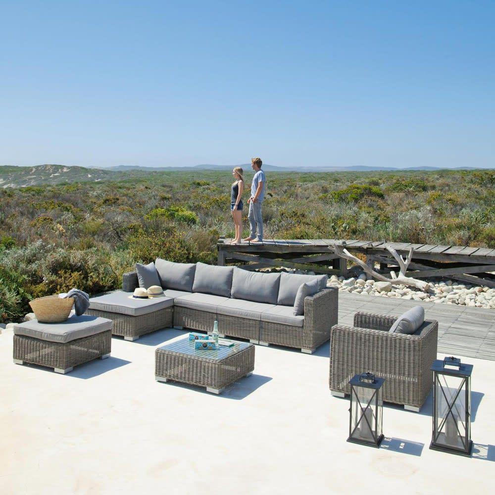Fauteuil de jardin en résine tressée grise Cape Town | Maisons du Monde