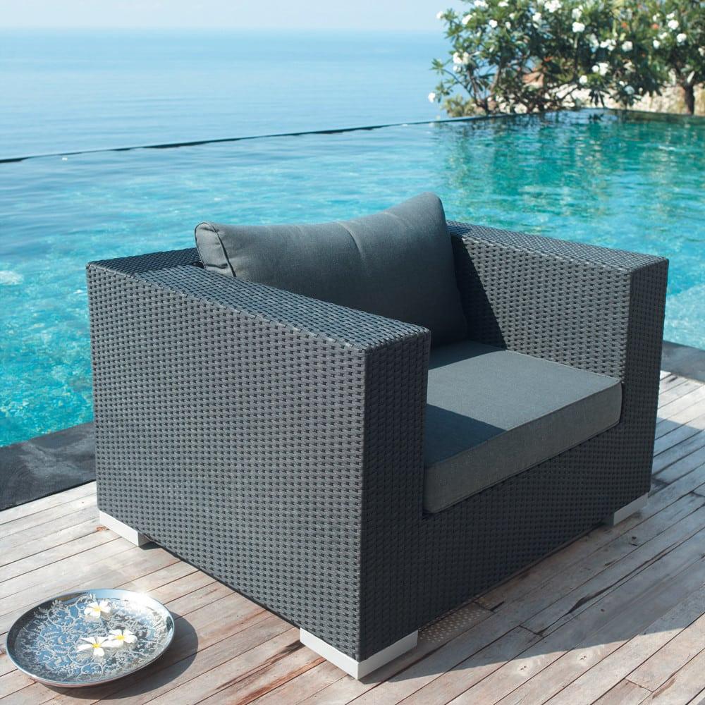 fauteuil de jardin en r sine tress e noir antibes maisons du monde. Black Bedroom Furniture Sets. Home Design Ideas