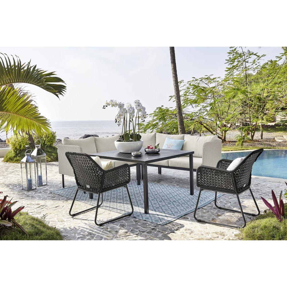 fauteuil de jardin en r sine tress e noire et coussins blancs cuzco maisons du monde. Black Bedroom Furniture Sets. Home Design Ideas