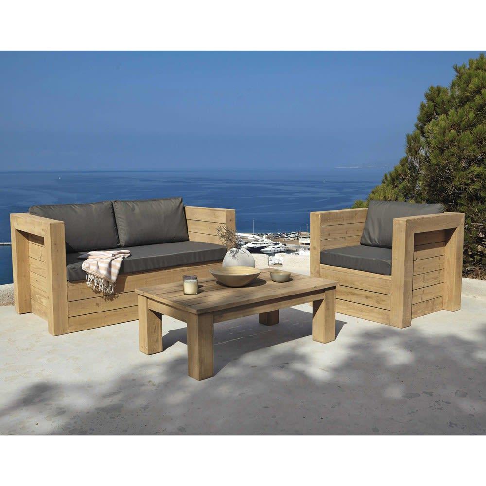 fauteuil de jardin en sapin gris brehat maisons du monde. Black Bedroom Furniture Sets. Home Design Ideas