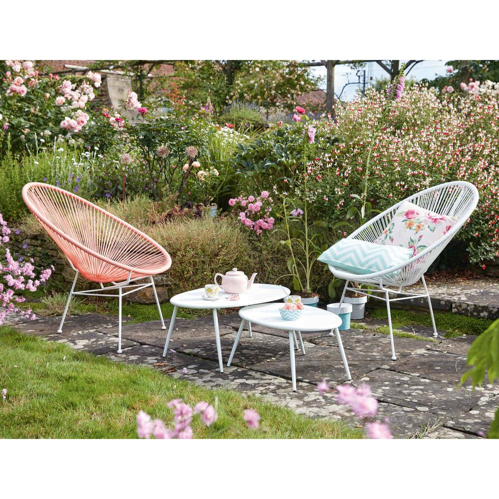 fauteuil de jardin rond blanc copacabana maisons du monde. Black Bedroom Furniture Sets. Home Design Ideas
