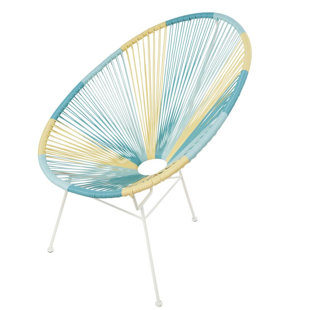 fauteuil de jardin rond en r sine jaune bleue et turquoise copacabana maisons du monde. Black Bedroom Furniture Sets. Home Design Ideas