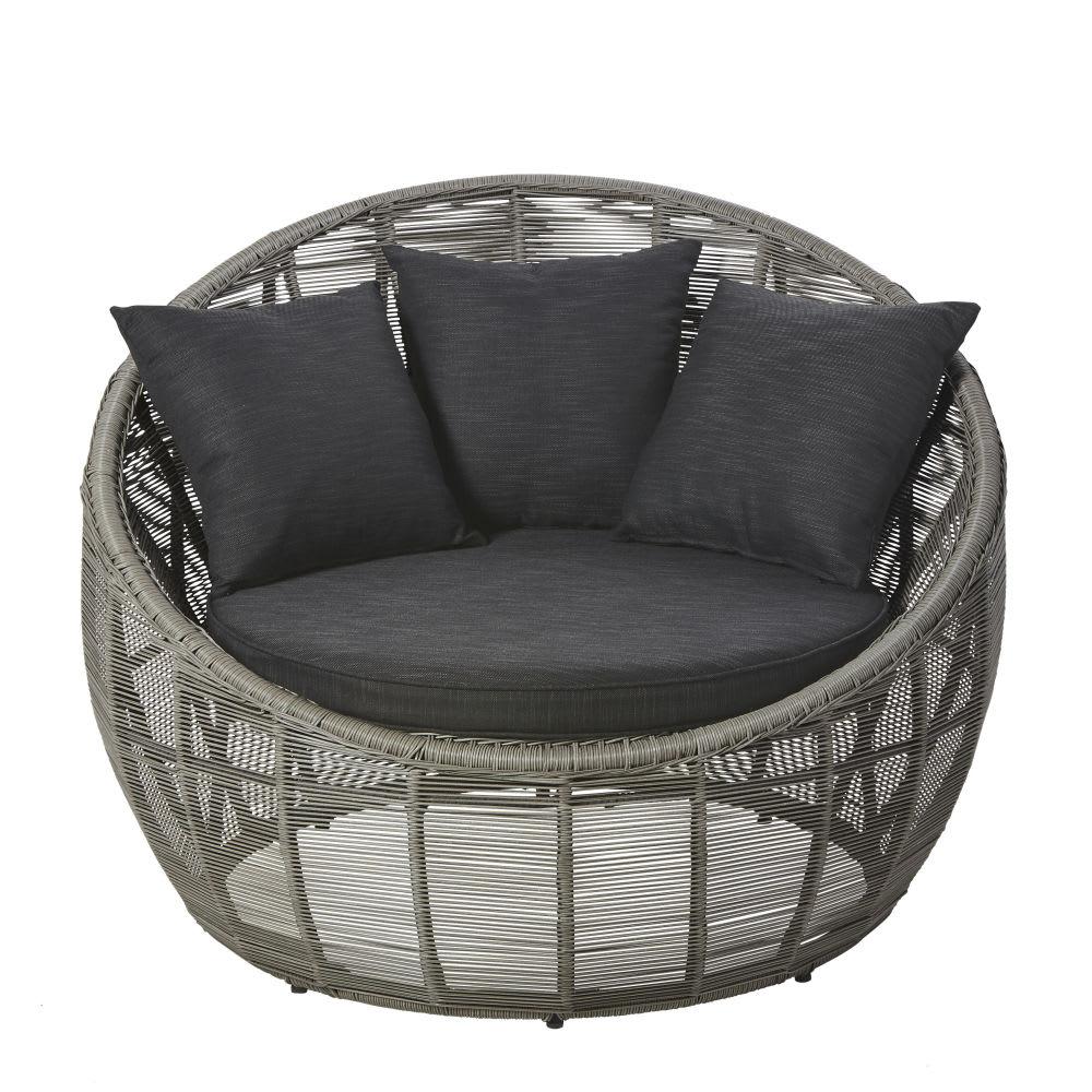fauteuil de jardin rond en r sine tress e grise tamarin maisons du monde. Black Bedroom Furniture Sets. Home Design Ideas