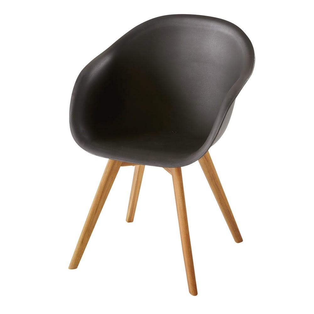 fauteuil de jardin style scandinave noir lima maisons du monde. Black Bedroom Furniture Sets. Home Design Ideas