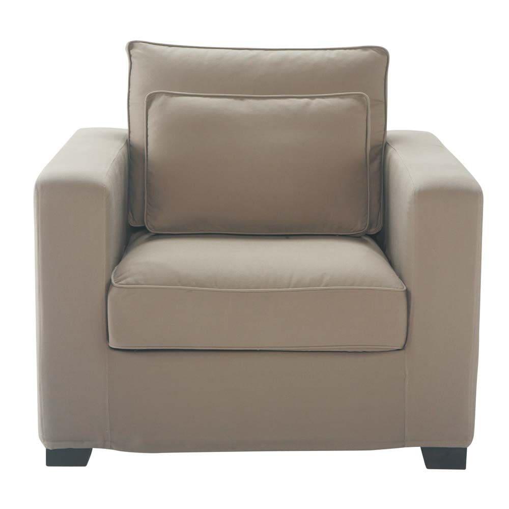 milano - fauteuil en coton taupe