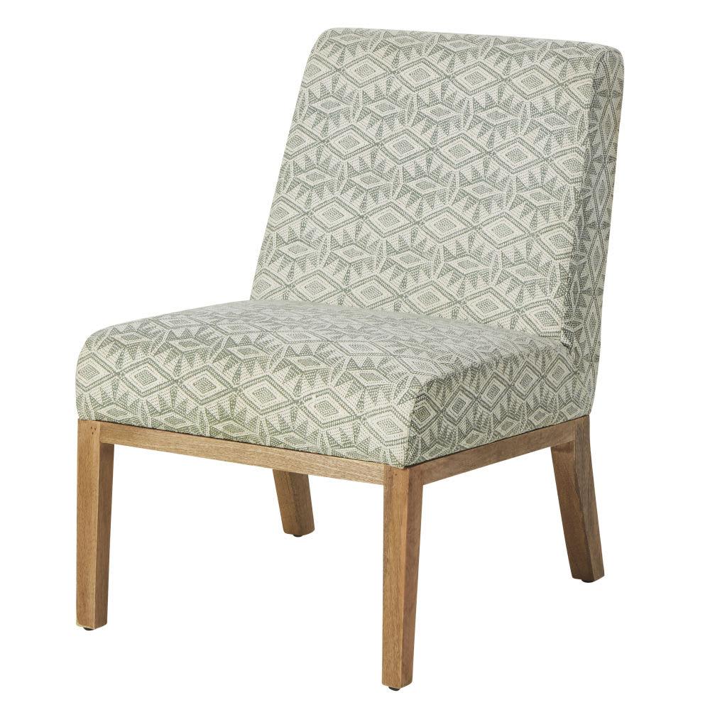 tzatziki - fauteuil en coton tressé motifs ivoire et vert kaki