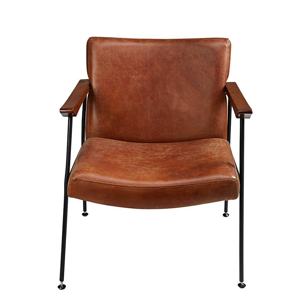 fauteuil en cuir de vachette marron vieilli blake maisons du monde. Black Bedroom Furniture Sets. Home Design Ideas