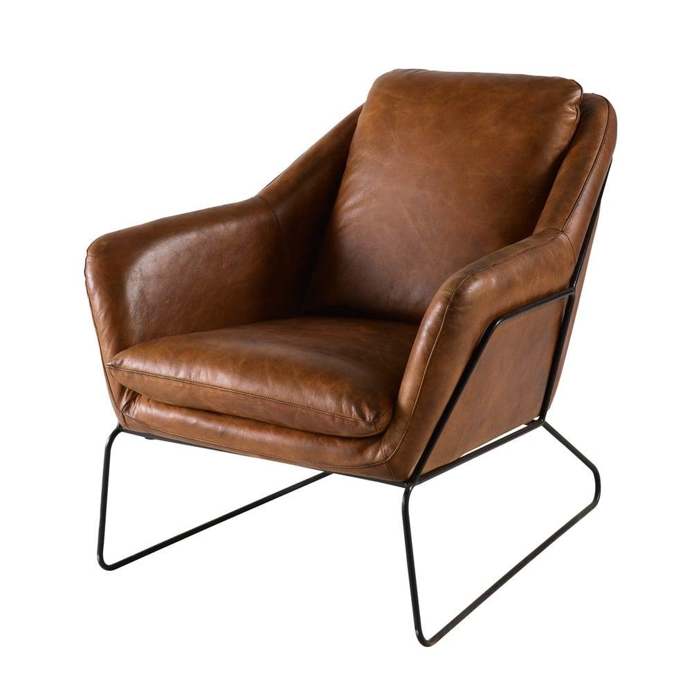 fauteuil en cuir marron majestic maisons du monde. Black Bedroom Furniture Sets. Home Design Ideas