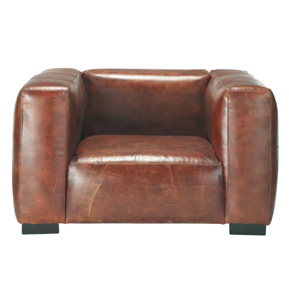 fauteuil en cuir marron john maisons du monde. Black Bedroom Furniture Sets. Home Design Ideas