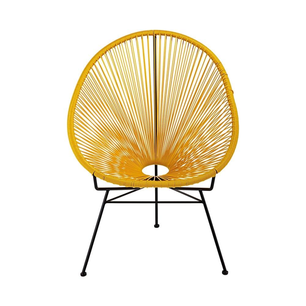 fauteuil en fil de r sine tendu moutarde et m tal noir copacabana maisons du monde. Black Bedroom Furniture Sets. Home Design Ideas