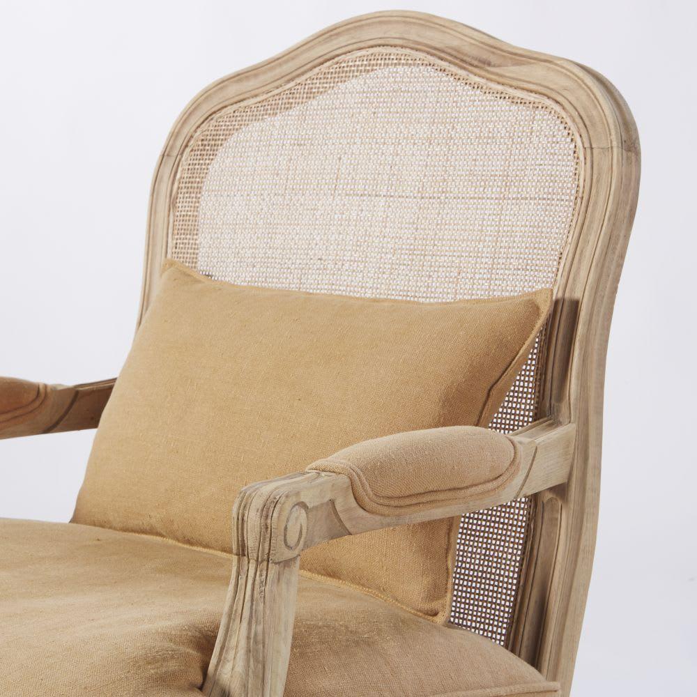 fauteuil en lin ocre cannage en rotin ch teau maisons du. Black Bedroom Furniture Sets. Home Design Ideas