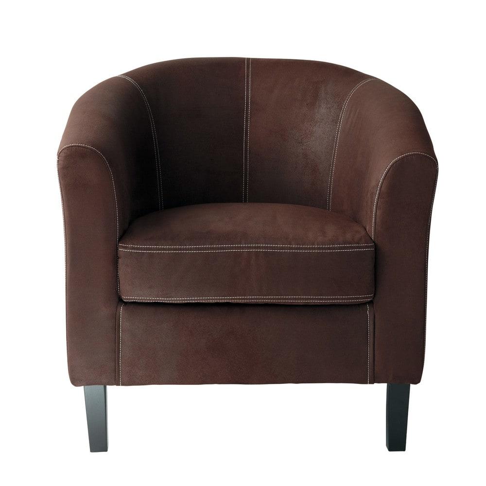 baltimore - fauteuil en microsuède marron
