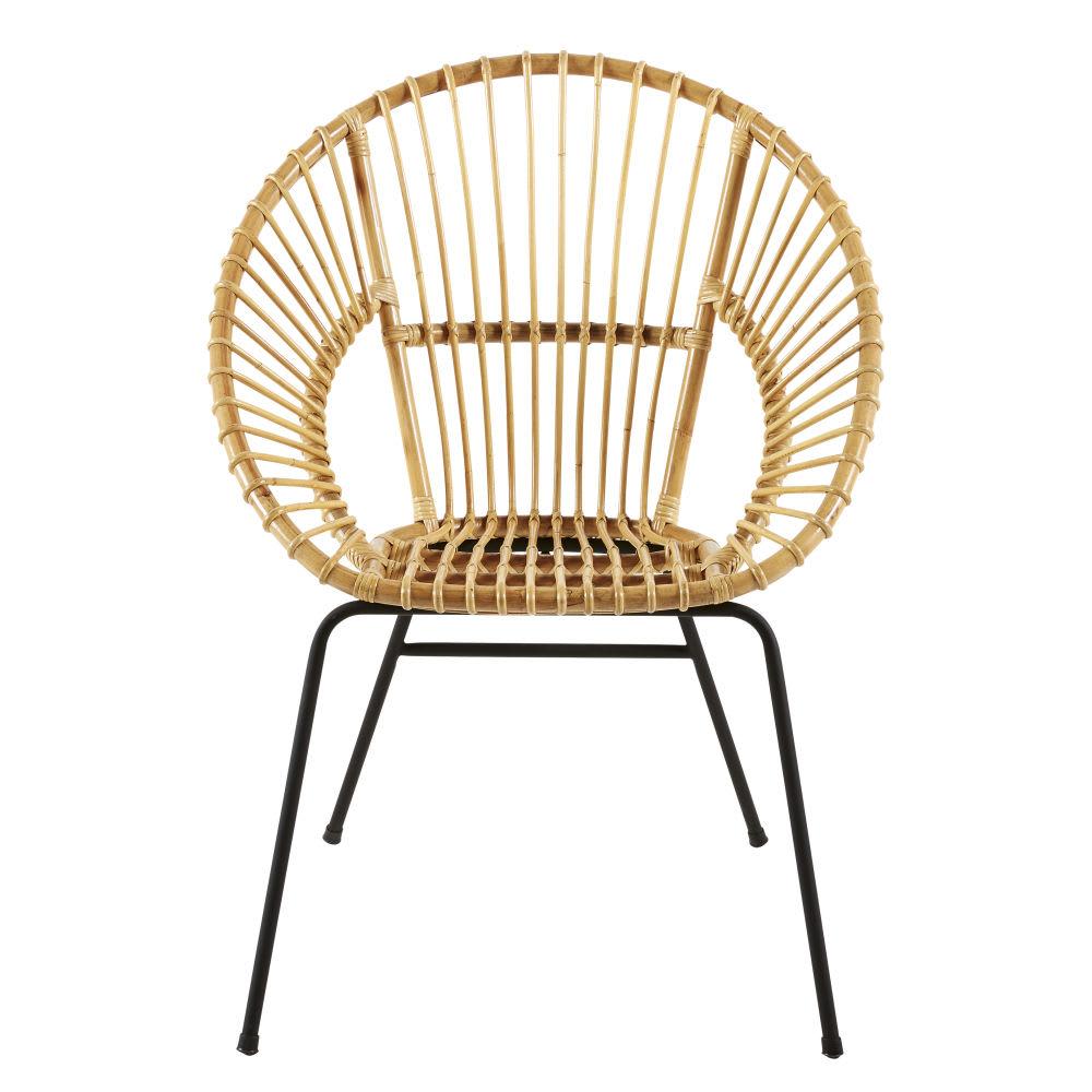 fauteuil en rotin et m tal noir zen market maisons du monde. Black Bedroom Furniture Sets. Home Design Ideas