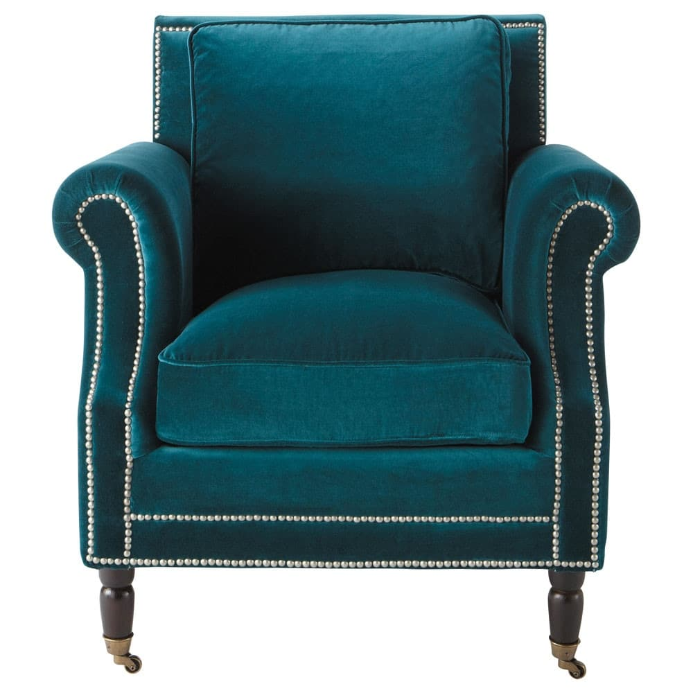 baudelaire - fauteuil en velours bleu canard