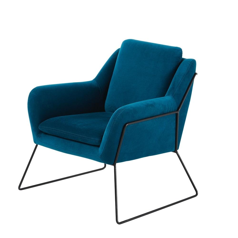 jasper - fauteuil en velours bleu nuit