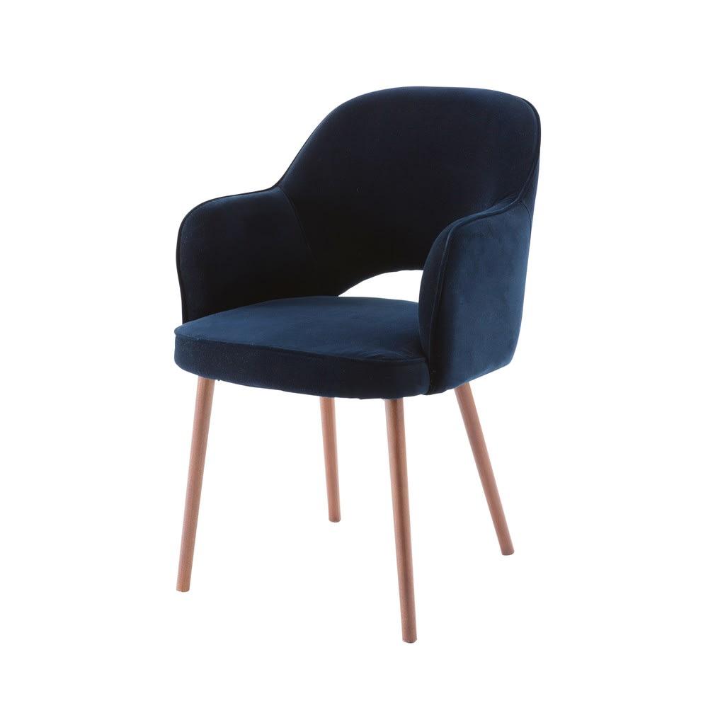 sacha - fauteuil en velours bleu nuit