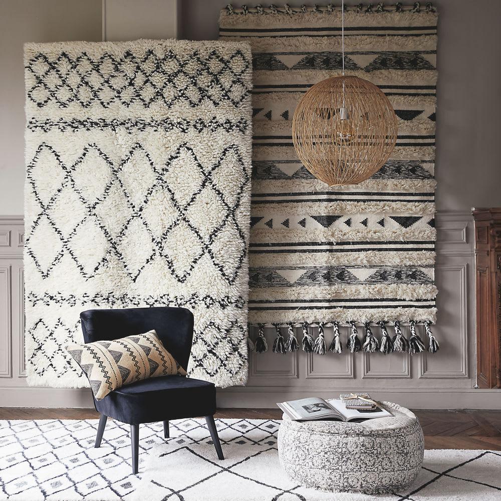 fauteuil en velours et bouleau noir palm maisons du monde. Black Bedroom Furniture Sets. Home Design Ideas