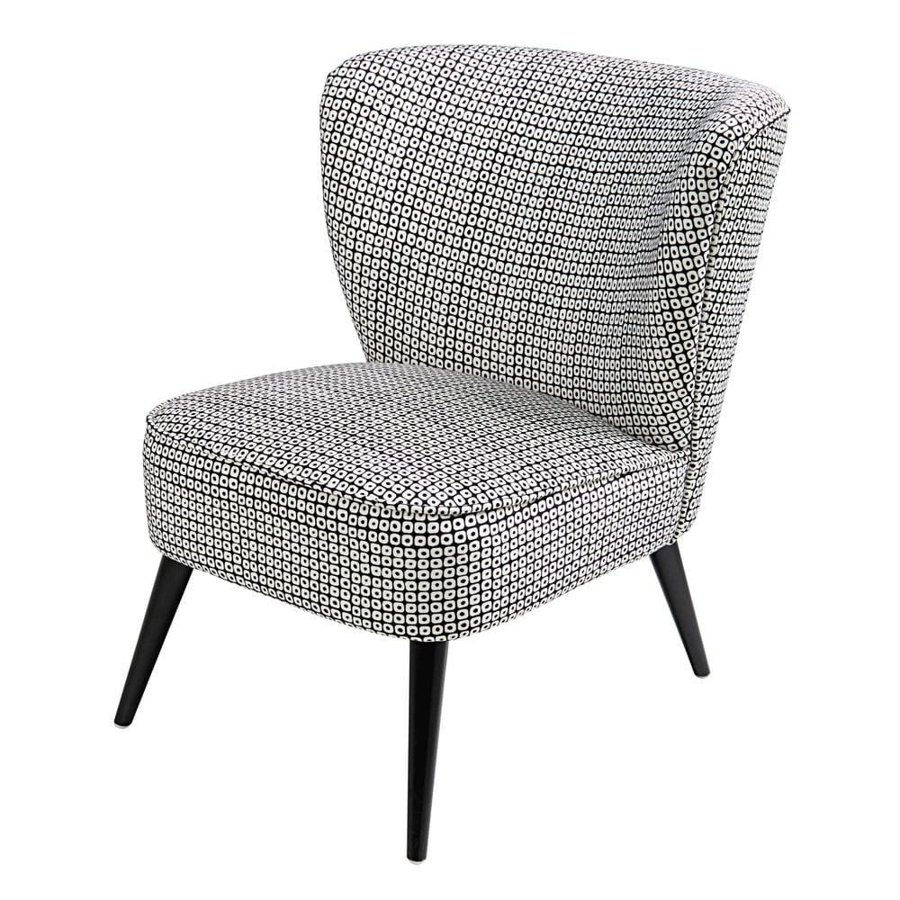 fauteuil en velours motifs noirs et blancs palm maisons. Black Bedroom Furniture Sets. Home Design Ideas